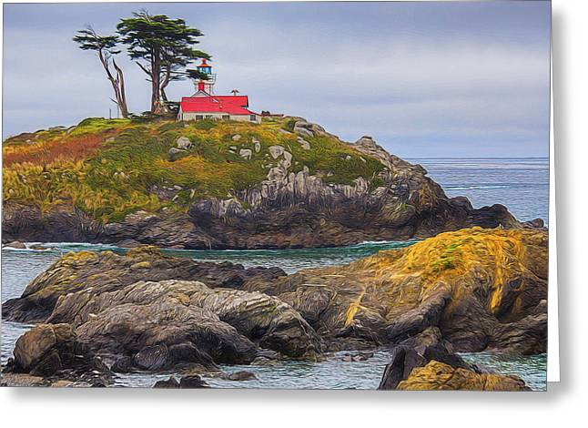 California Ocean Photography Greeting Cards - Battery Point Lighthouse  Crescent City - California Greeting Card by TN Fairey