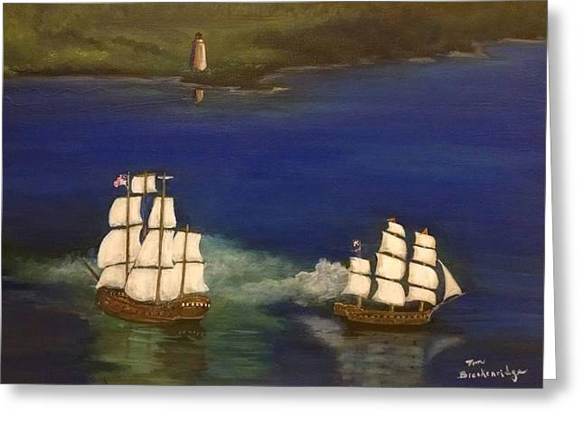 Ocean. Reflection Greeting Cards - Battle at Ocracoke, NC Greeting Card by Thomas Breckenridge