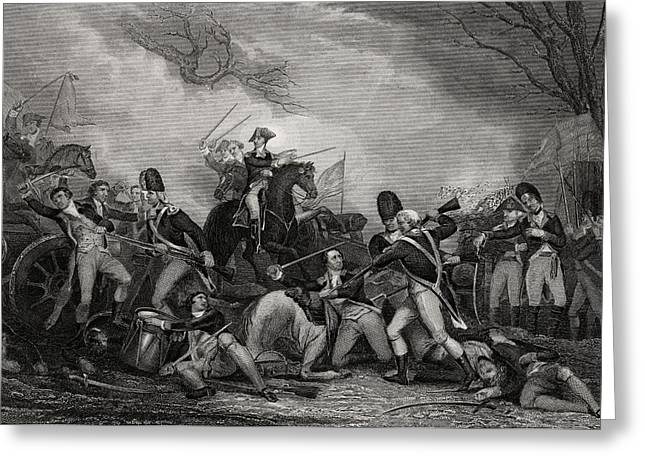 At Work Drawings Greeting Cards - Battle At Princeton New Jersey Usa 1775 Greeting Card by Ken Welsh