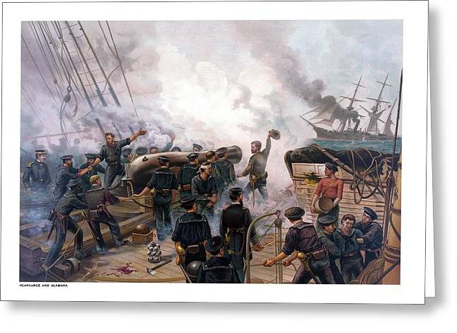 Civil War History Greeting Cards - Battle Between Kearsarge And Alabama Greeting Card by War Is Hell Store