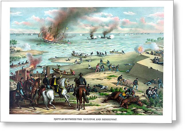 Naval History Greeting Cards - Battle Between The Monitor And Merrimac Greeting Card by War Is Hell Store