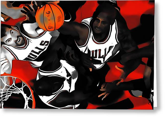 Battle For The Rebound Greeting Card by Brian Reaves