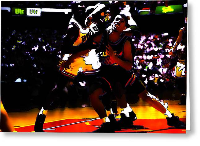 John Stockton Greeting Cards - Battle in the Paint Greeting Card by Brian Reaves