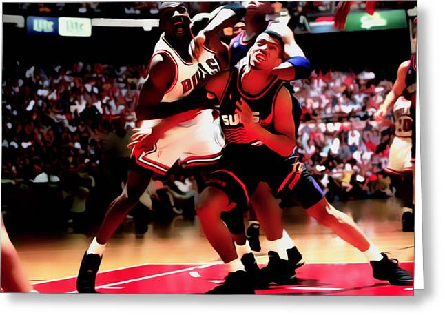 Nike Greeting Cards - Battle In The Paint II Greeting Card by Brian Reaves