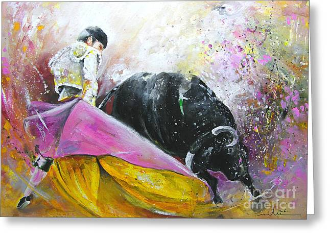 Bullfight Greeting Cards - Battle Joined Greeting Card by Miki De Goodaboom