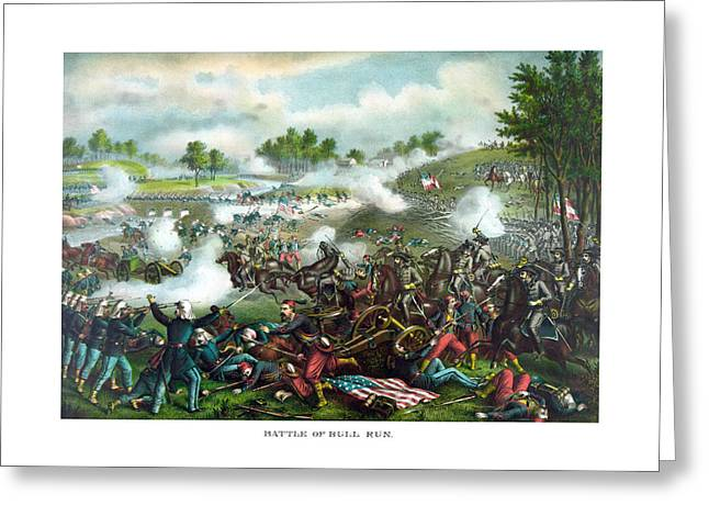 North Mixed Media Greeting Cards - Battle Of Bull Run Greeting Card by War Is Hell Store