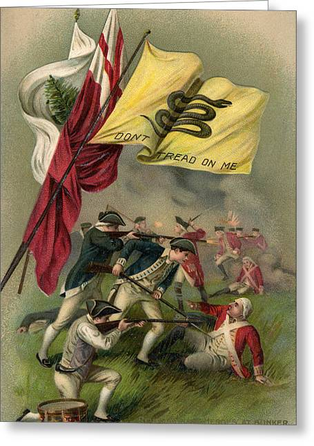 Revolutionary War Drawings Greeting Cards - Battle of Bunker Hill with Gadsden Flag Greeting Card by American School