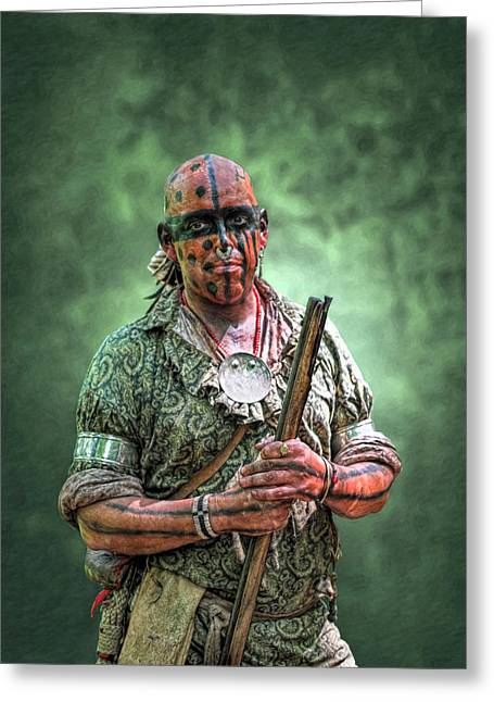 Muzzleloader Greeting Cards - Battle of Bushy Run Warrior Scout Portrait Greeting Card by Randy Steele