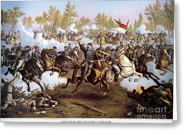 Cedar Creek Greeting Cards - Battle Of Cedar Creek 1864 Greeting Card by Granger