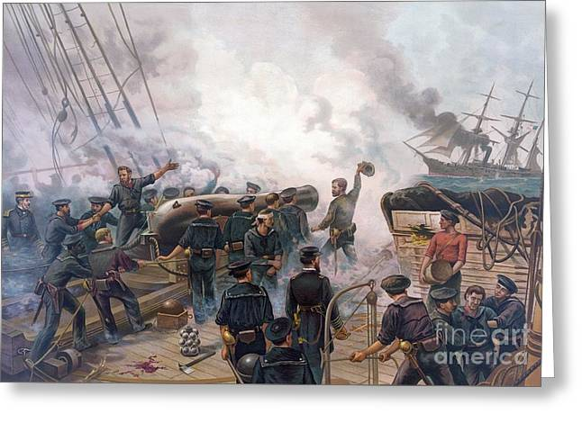 Battle Of Cherbourg Greeting Card by Julian Oliver Davidson