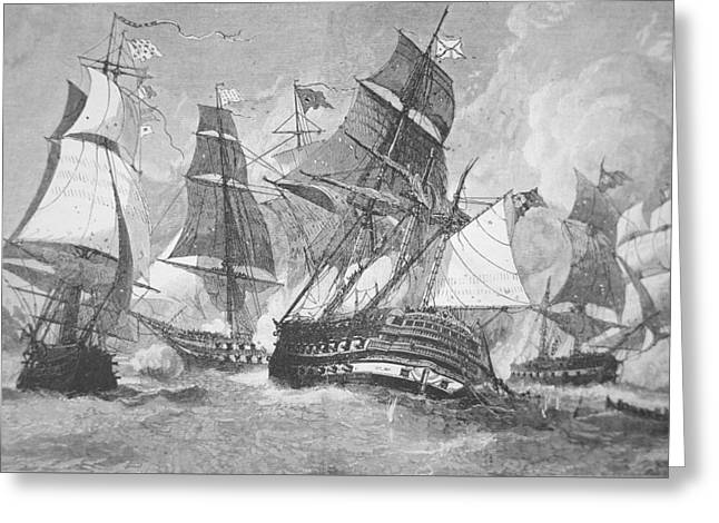 American Fleet Greeting Cards - Battle of Chesapeake Bay Greeting Card by Julian Oliver Davidson
