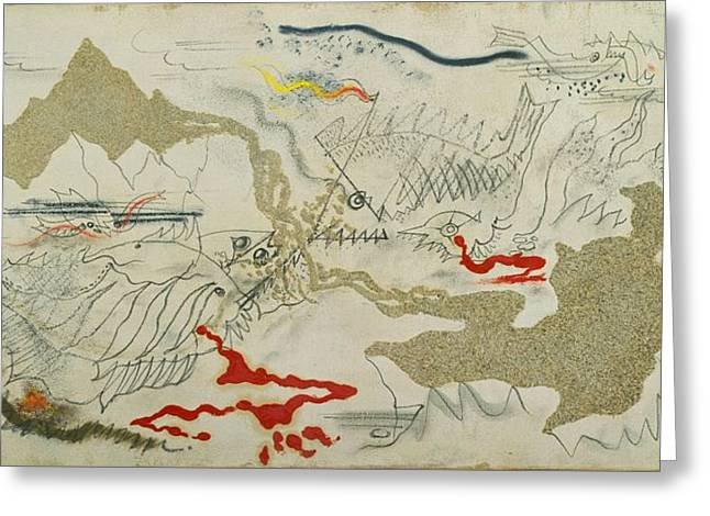 Battle Of Fishes Greeting Card by Andre Masson