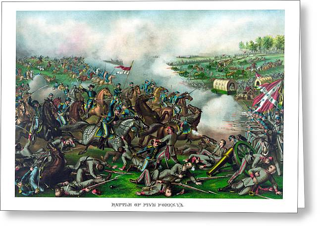 Phils Greeting Cards - Battle of Five Forks Greeting Card by War Is Hell Store