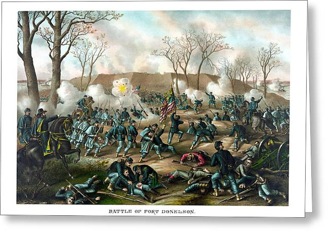 American Civil War Drawings Greeting Cards - Battle of Fort Donelson Greeting Card by War Is Hell Store