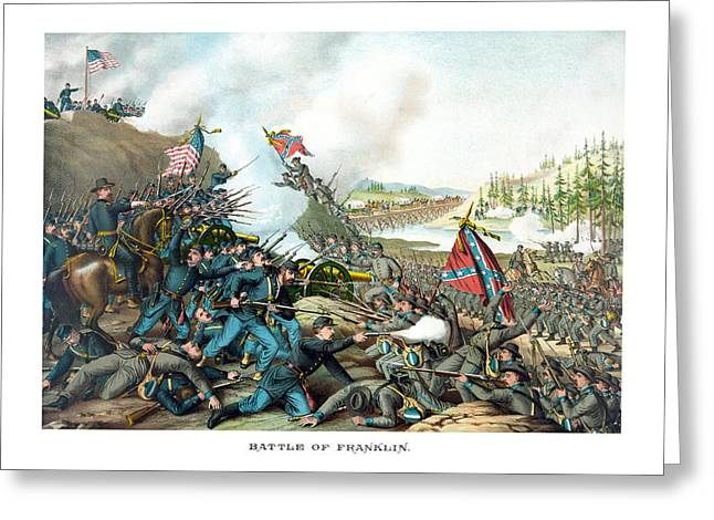 North Mixed Media Greeting Cards - Battle Of Franklin - Civil War Greeting Card by War Is Hell Store