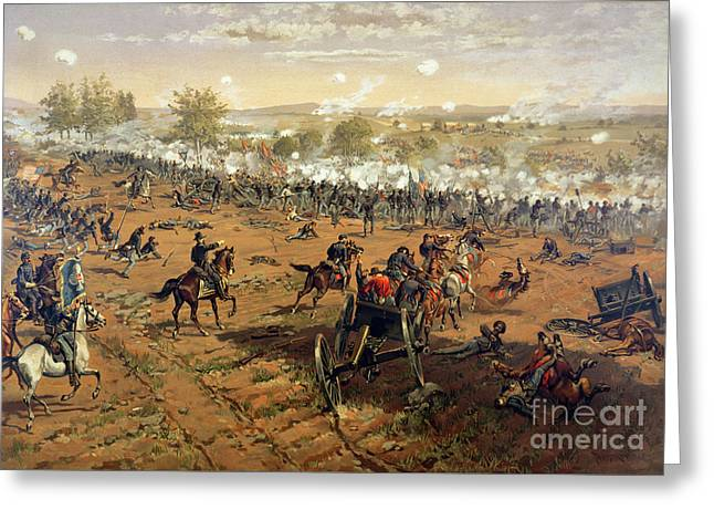 Shot Greeting Cards - Battle of Gettysburg Greeting Card by Thure de Thulstrup