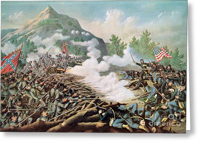 The Battle Ended In Confederate Victory; Greeting Cards - Battle of Kenesaw Mountain Georgia 27th June 1864 Greeting Card by American School