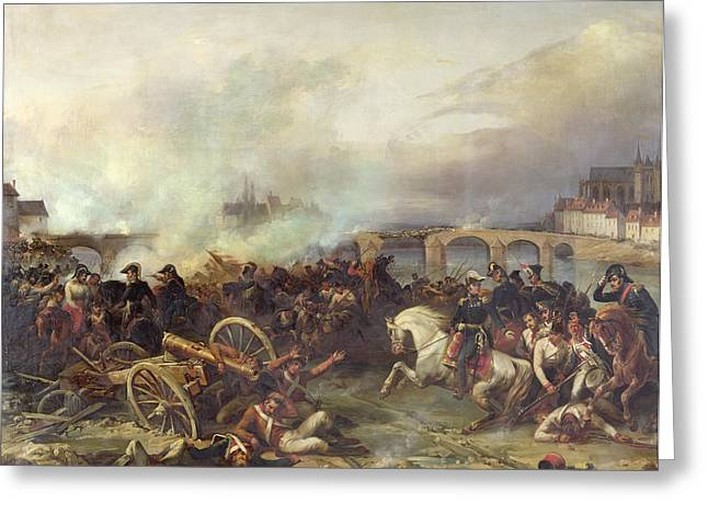 Wounded Greeting Cards - Battle of Montereau Greeting Card by Jean Charles Langlois
