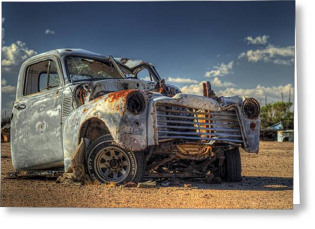 Wrecked Cars Greeting Cards - Battle of One Greeting Card by Wayne Stadler
