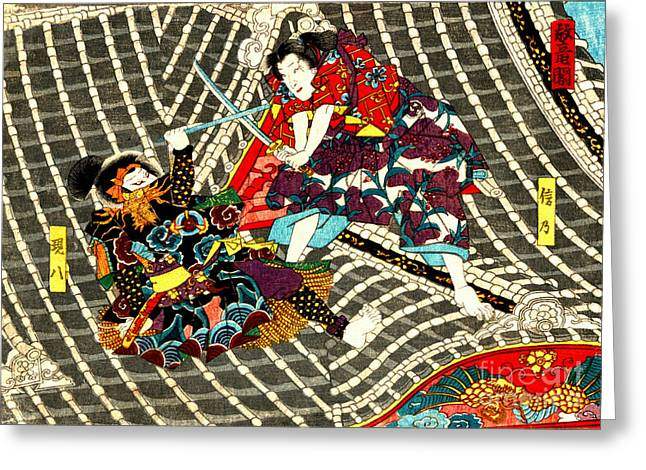 Padre Art Greeting Cards - Battle on Horyu Tower 1850 Greeting Card by Padre Art