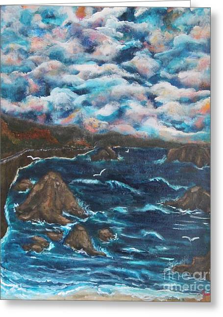 Turbulent Skies Paintings Greeting Cards - Battle Rock Greeting Card by Chaline Ouellet