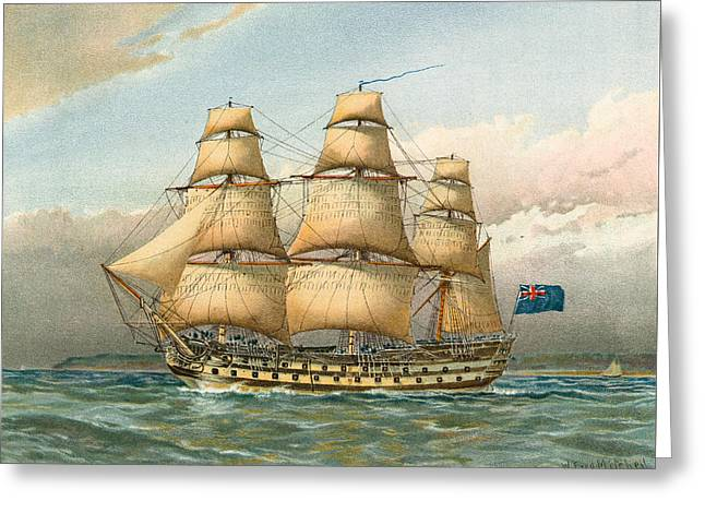 Battle Ship Greeting Card by William Frederick Mitchell