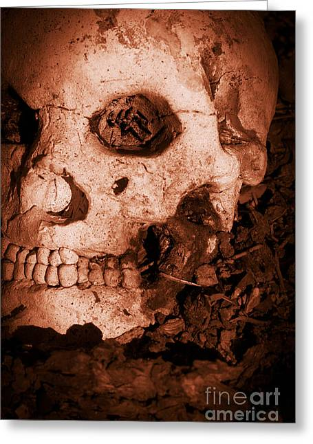 Bloodshed Greeting Cards - Battle Skull Greeting Card by Ryan Jorgensen