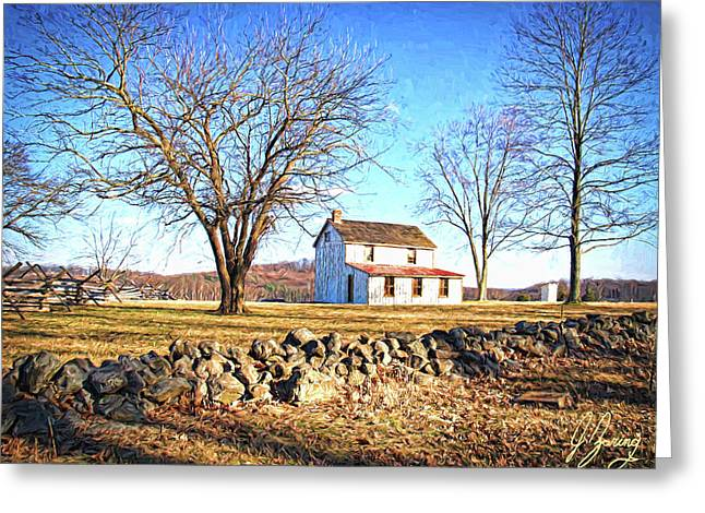 Historic Home Greeting Cards - Battlefield Homestead Greeting Card by Joshua Zaring