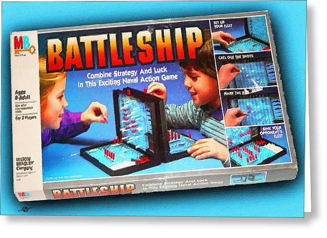 Battleship Board Game Painting  Greeting Card by Tony Rubino