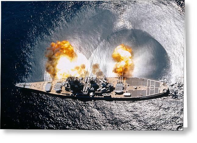 Battleship Iowa Firing All Guns Greeting Card by Stocktrek Images