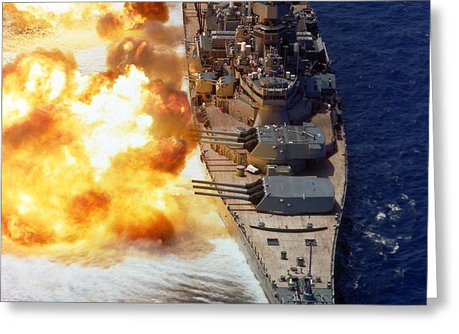 Battleship Uss Iowa Firing Its Mark 7 Greeting Card by Stocktrek Images