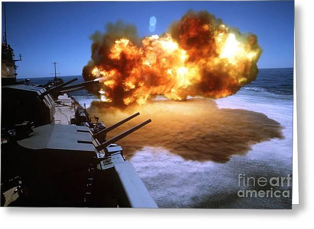 Battleship Uss Missouri Fires One Greeting Card by Stocktrek Images