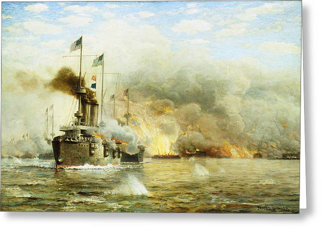 Fume Greeting Cards - Battleships at War Greeting Card by James Gale Tyler