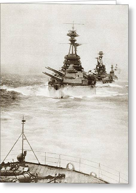 North Sea Drawings Greeting Cards - Battleships From A Battle Squadron Of Greeting Card by Ken Welsh