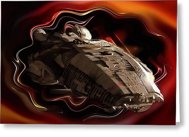 Battlestar Galactica Emerges From The Stargate Greeting Card by Mario Carini
