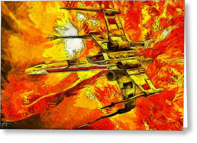 Science Greeting Cards - Star Wars X-Wing Fighter - Oil Greeting Card by Tommy Anderson