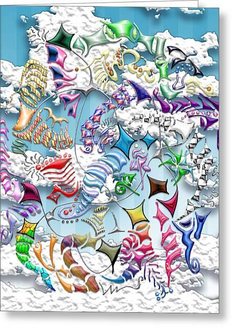 Battling Kites -- Blue Greeting Card by Mark Sellers
