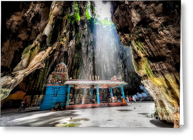 Sun Rays Digital Art Greeting Cards - Batu Cave Sunlight Greeting Card by Adrian Evans