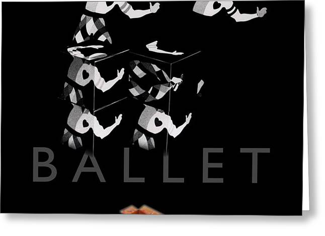 Bauhaus Ballet Black Greeting Card by Charles Stuart