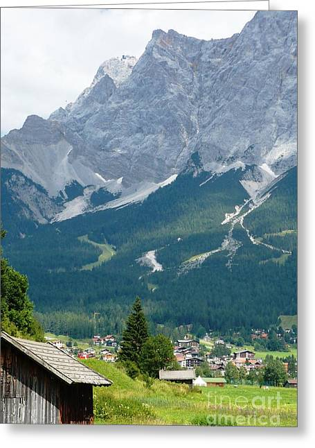 Bavarian Alps With Shed Greeting Card by Carol Groenen