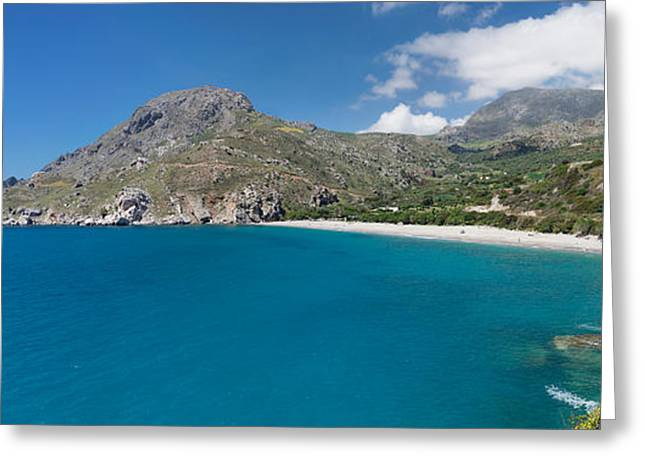 Crete Greeting Cards - Bay And Beach Of Souda, Plakias, Crete Greeting Card by Panoramic Images