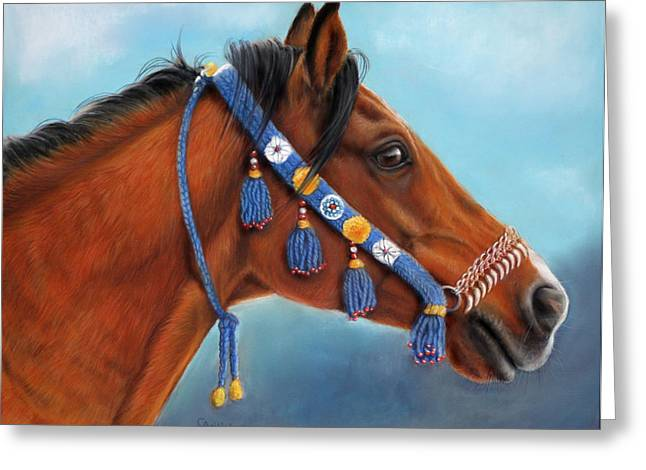 Blue Pastels Greeting Cards - Bay Arabian Horse Greeting Card by Svetlana Ledneva-Schukina