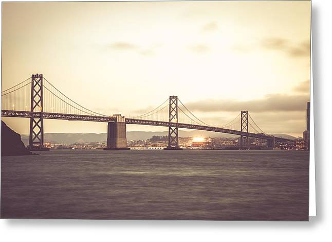 Famous Bridge Greeting Cards - Bay Bridge in San Francisco Greeting Card by Leonardo Patrizi