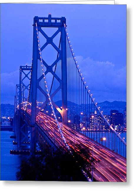 Bay Bridge Greeting Cards - Bay Bridge Night Greeting Card by Connie Cooper-Edwards