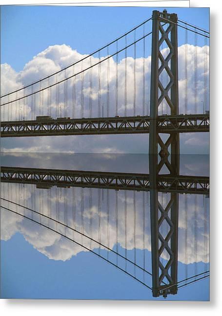 San Francisco Bay Greeting Cards - Bay bridge S F Greeting Card by Tina M Wenger