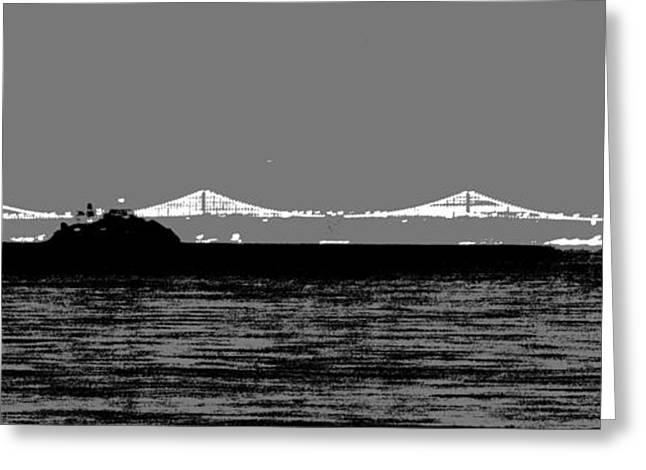 Bay Bridge Mixed Media Greeting Cards - Bay Bridge San Francisco Greeting Card by Kip Vidrine