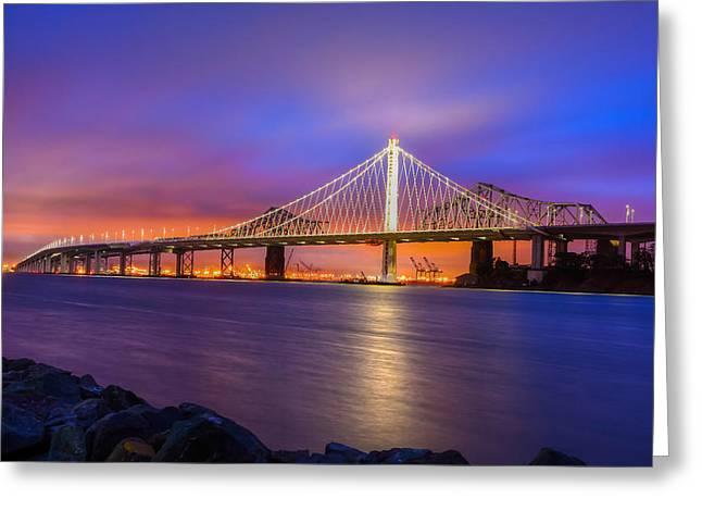 San Francisco Bay Greeting Cards - Bay Bridge Greeting Card by Srikanth Srinivasan