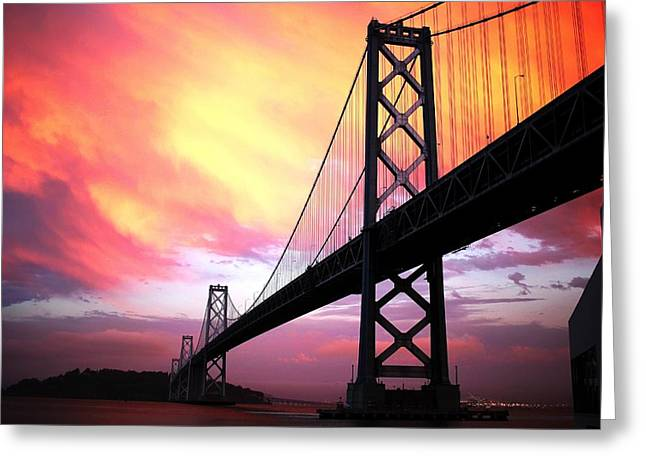 Recently Sold -  - Bay Bridge Greeting Cards - Bay Bridge Sunset landscape version Greeting Card by Troy Young