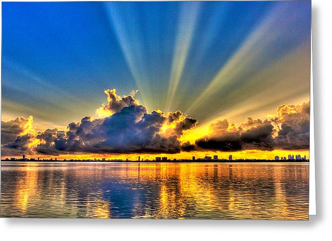 Sunrise. Water Greeting Cards - Bay Harbor Sunrise Greeting Card by William Wetmore