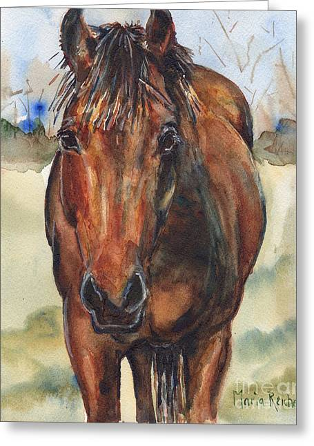 Custom Horse Portrait Greeting Cards - Bay horse painting in watercolor Greeting Card by Maria